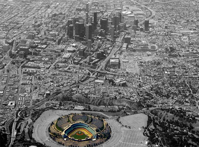 Downtown Los Angeles with Dodger Stadium