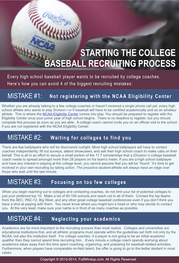 college baseball recruiting mistakes to avoid the full windup